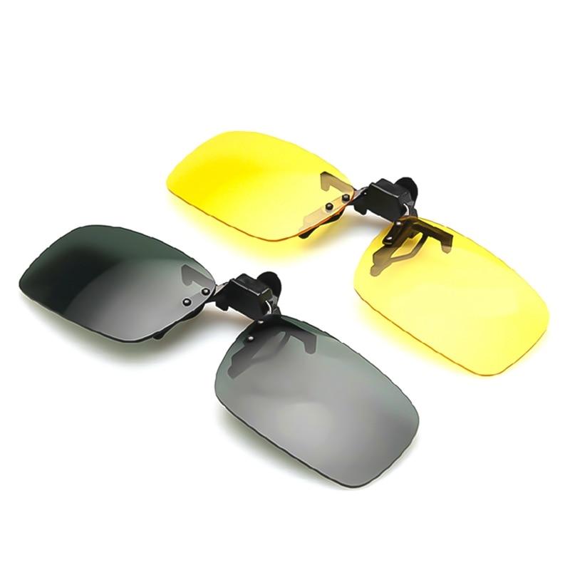 Polarized Clip On Sunglasses Driving Night Vision Lens Sun Glasses Male Anti-UVA  For Men Women With Case & Glasses Cloth