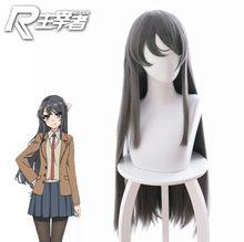 Rascal não sonho de coelho menina senpai sakurajima mai cosplay perucas de cabelo sintético longo em linha reta cinza chapelaria role play