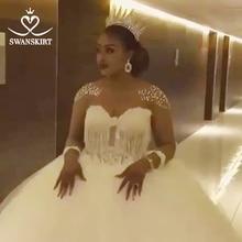 Luxus Perlen Ballkleid Hochzeit Kleid Swanskirt WZ02 Schatz Langarm Brautkleid Appliques Gericht Zug Vestido De Noiva