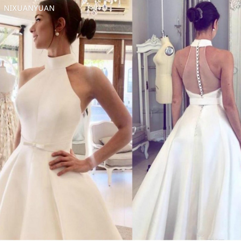 Halter Neckline Satin A Line 2020 Wedding Dresses Backless Covered Button Pleats Sweep Train Plus Size Bridal Gowns Wedding Gown