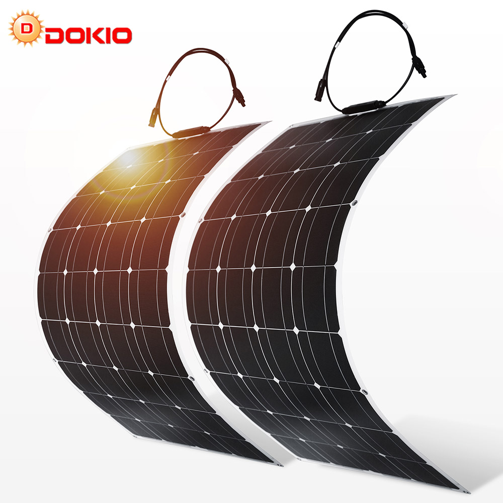 Dokio 2PCS <font><b>12V</b></font> <font><b>100W</b></font> Flexible Monocrystalline <font><b>Solar</b></font> <font><b>Panel</b></font> For Car Battery & Boat & Home 200w 300w 1000w 18V <font><b>Solar</b></font> <font><b>Panel</b></font> China image