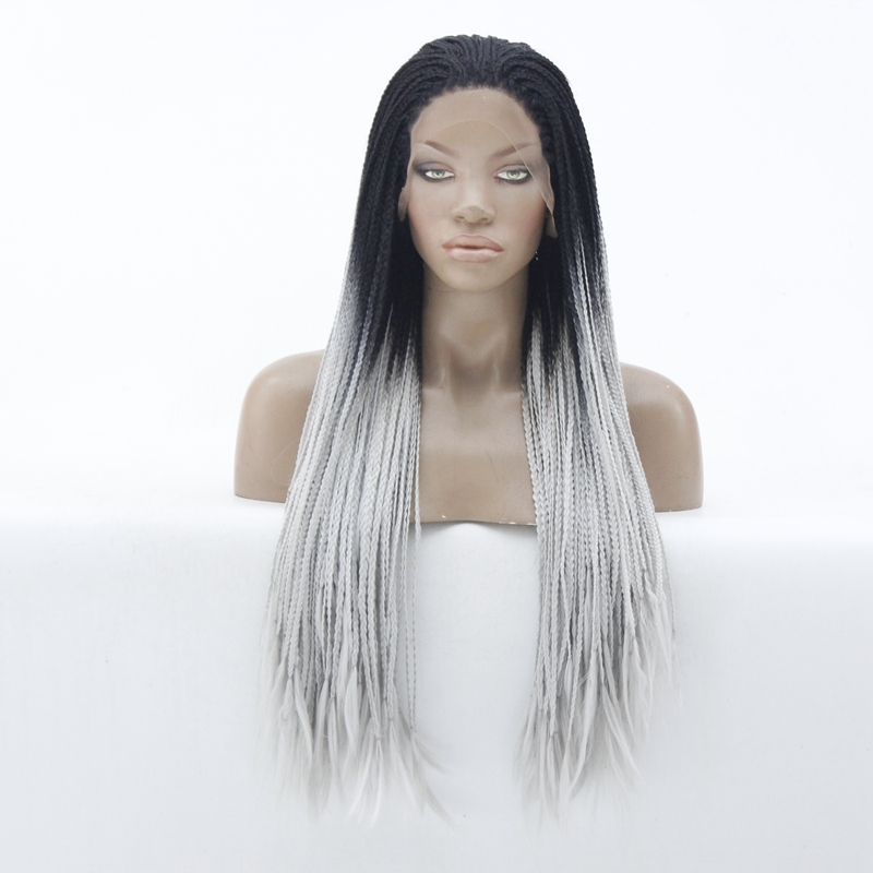 Top Quality Braided Synthetic Wig Dark Roots Ombre Gray African American Braids Synthetic Lace Front Wig For Women