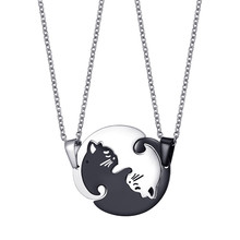 Fashion Couples Necklaces Black White Couple Necklace Titanium Steel Animal Cat Pendants Jewelry Gift