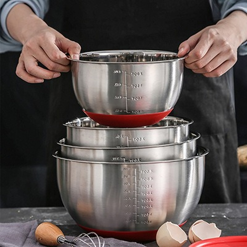 Tigelas de aço inoxidável tigela de mistura com escala diy bolo pão salada misturador cozinha cozinhar ferramenta com uma tampa