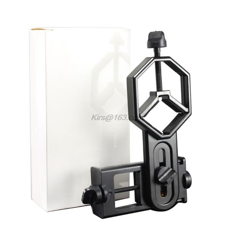 Black Adjustable Metal/ABS Cellphone Adapter Mount Microscope Spotting Scope Telescope Clip Bracket Mobile Phone Stand Holder