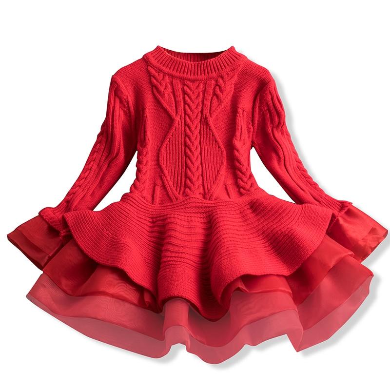Girl Dress Knitted Baby Kids Dress Tutu Birthday Party Dresses Long Sleeve Children Girl Dress Thick Winter Kids Dress For Girls 1