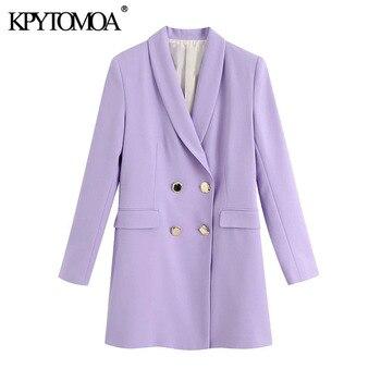 KPYTOMOA Women 2020 Fashion Double Breasted Blazer Coat Vintage Long Sleeve Flap Pockets Female Outerwear Chic Tops