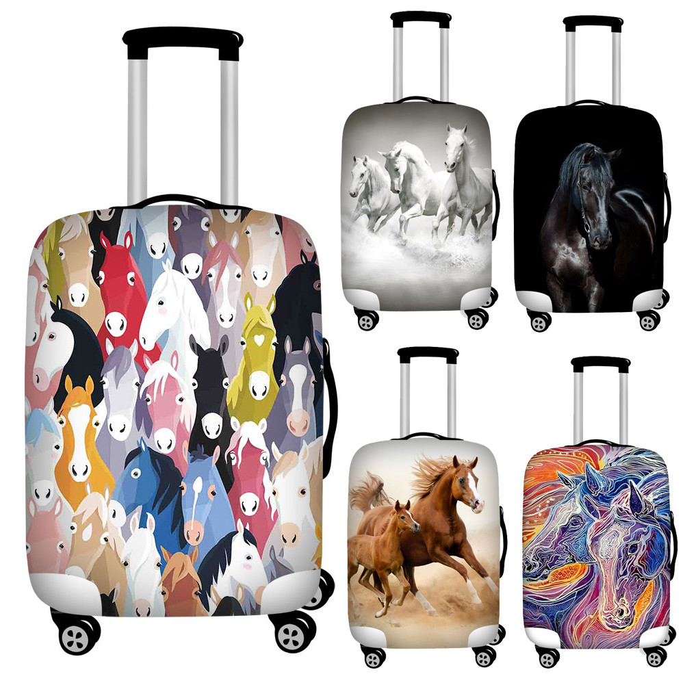 Horse Travel Luggage Cover Protective Suitcase Case Elastic Fabric Baggage Protector Dust Cover For 18-32 Inch Trip Accessories