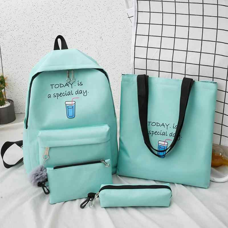 4pcs/Set Letter Printing Canvas Backpack Pencil Case for Teenage Girls Student Composite Rucksack Women Totes Purse mochilas