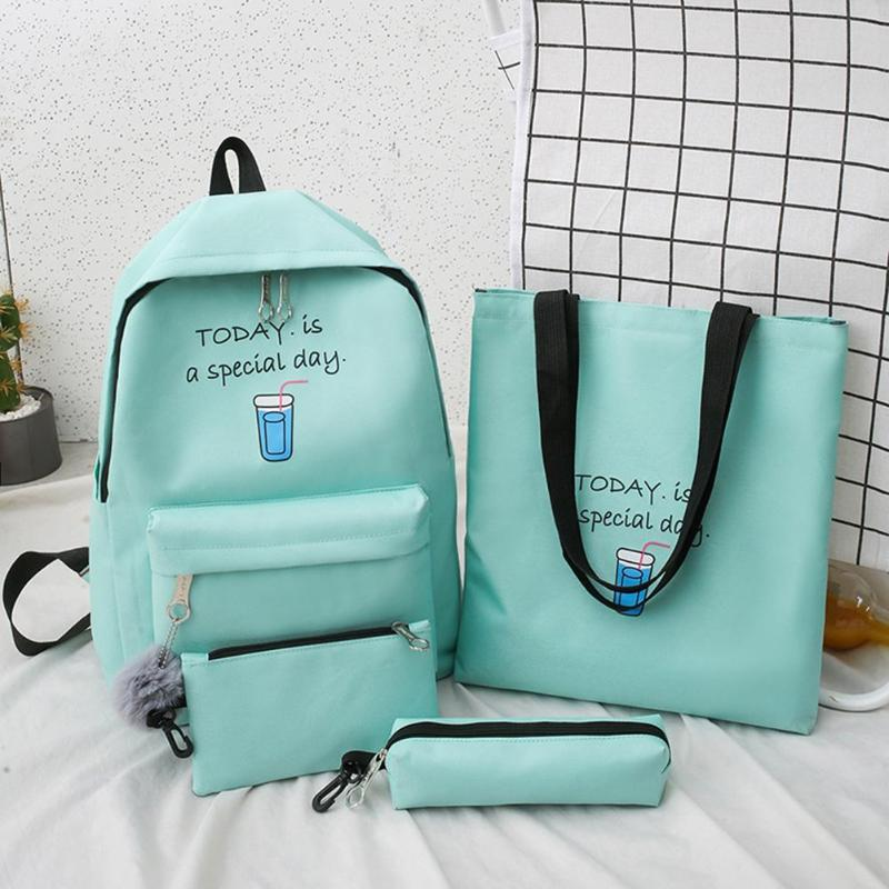 Canvas Backpack Mochilas Pencil-Case Purse Totes Composite-Rucksack Letter Printing Teenage-Girls title=