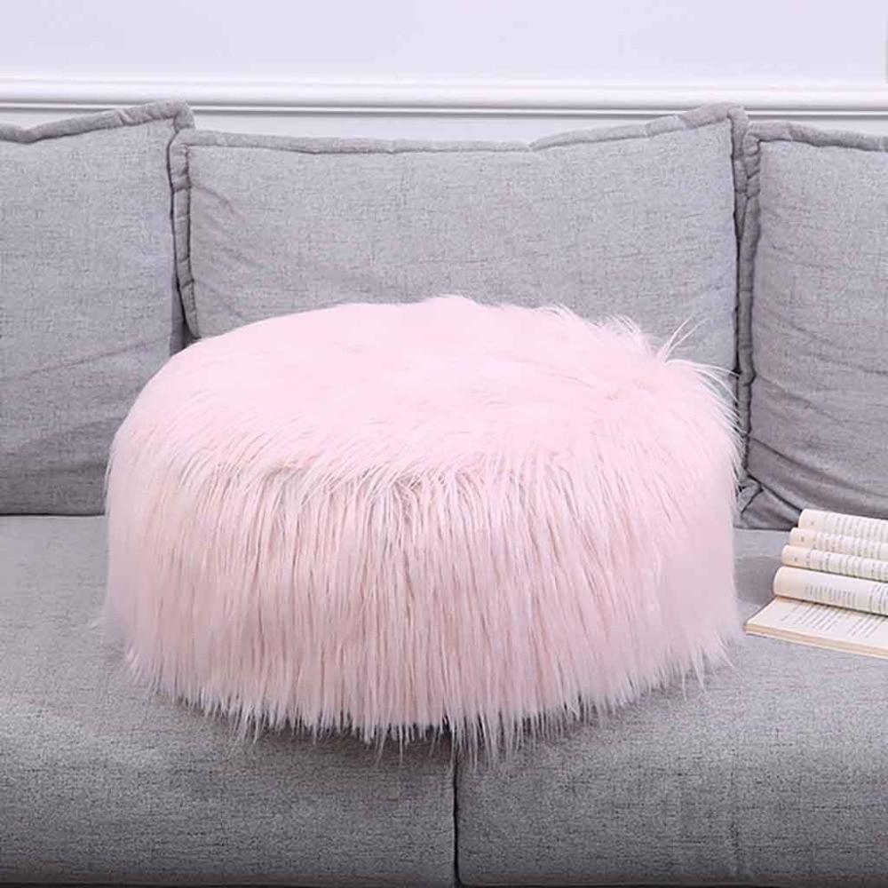 Plush Sofa Stool Futon Mat Inflatable Portable Round Footstool European Style (9)