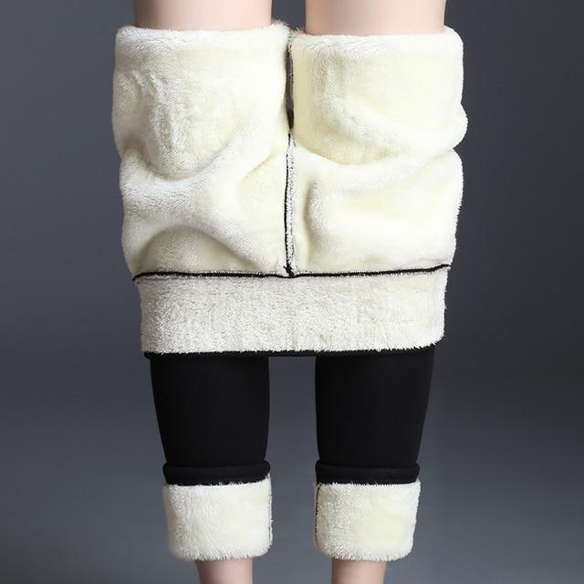 Black Women Winter Thick Velvet Pants Plus Size Warm High Waist Stretch Skinny Pencil Trousers Casual Wool Fleece Pant 1