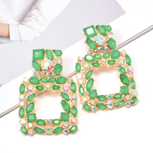 Wholesale ZA New Square Hollowed-out Dangling Drop Earrings Studded With Colorful Crystals High-Quality Pendientes Jewelry Accessories For Women Christmas Gift