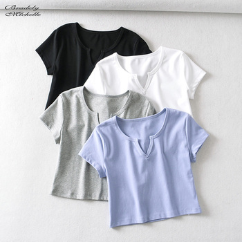 Bradely Michelle 2020 Summer women casual basic crop top high-quality Elastic solid cotton short sleeve v-neck harajuku t shirt 1