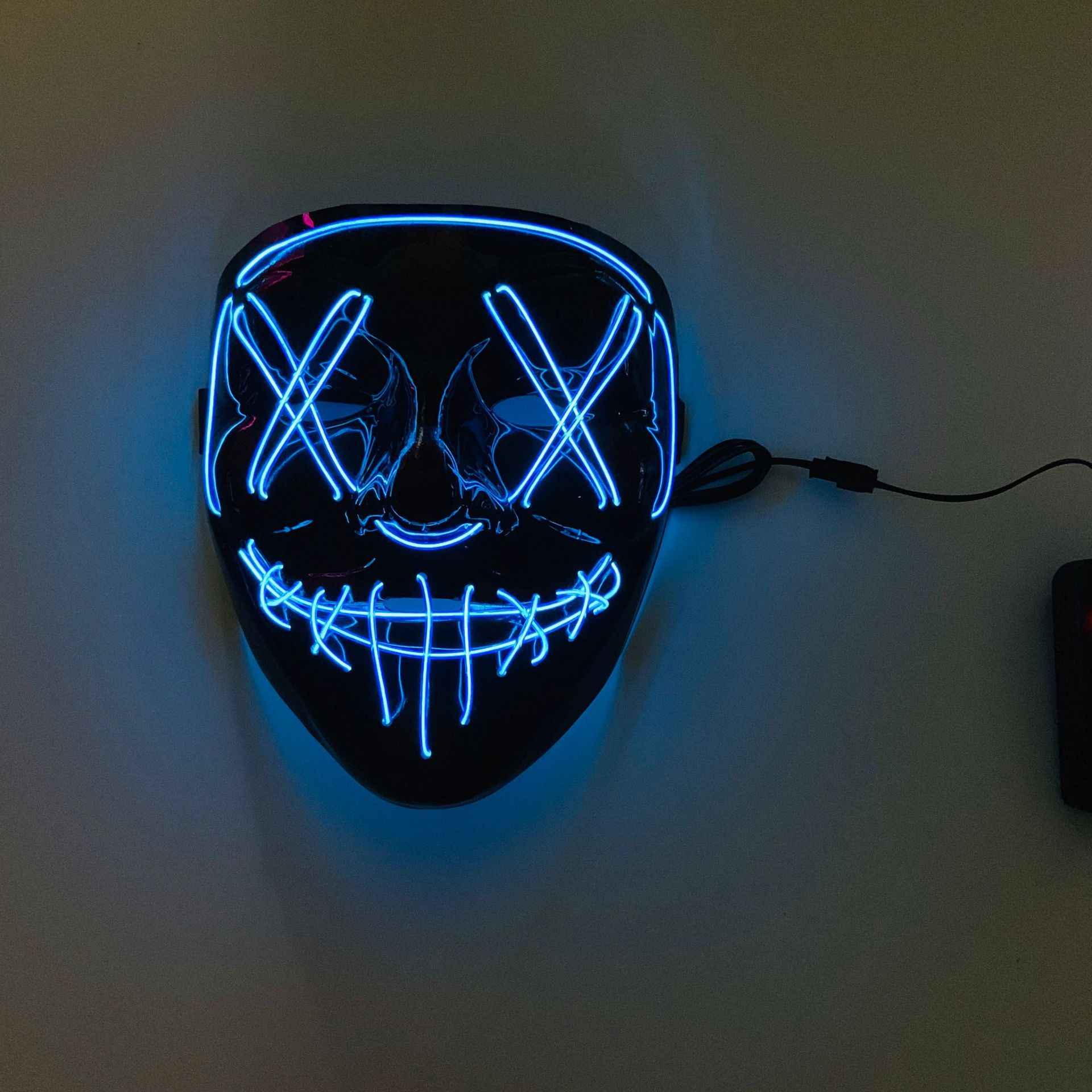 LED Masker Halloween Flash Dekorasi Topeng Prom Bar Pesta Halloween Kostum Masker Cahaya Dingin Masker untuk Halloween Festival Pesta Mainan