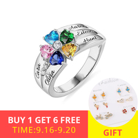 XiaoJing 925 Sterling Silver Engraved 5 Heart Birthstones Ring Personalized Custom Ring For Women Jewelry Valentine's Gift
