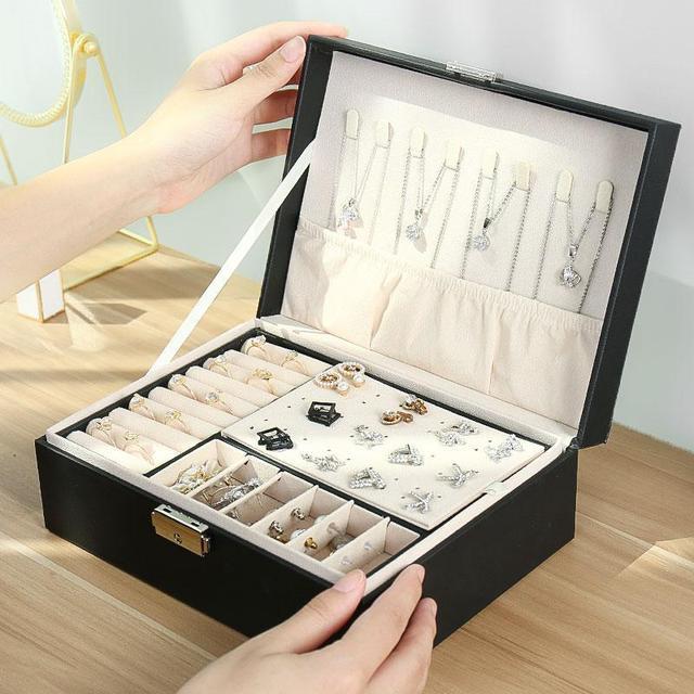 Caixa de armazenamento de jóias de couro do plutônio caixa de embalagem multi-função de estilo europeu portátil com gaveta presente de inverno 4