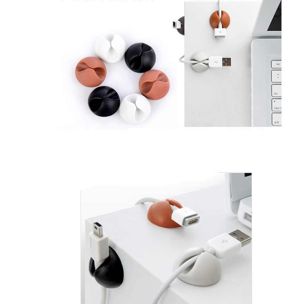 Clip redondo de Cable de teléfono bobinador de abrazadera de bobina protector de auriculares organizador de Cable de fijación de soporte de colación