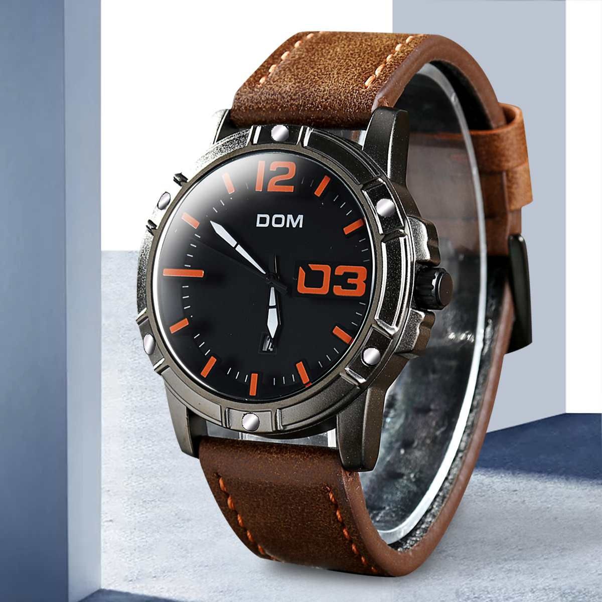 DOM Watch Men Waterproof Luxury Quartz wristwatch clock Mens Watches Leather Sport Business watch Men Gifts M-1218BL-1M5