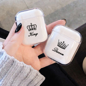 Transparent Soft Cases For Apple Airpods Wireless Bluetooth Earphone Cute Cartoon King Queen Clear Couple Cover Air Pods Earpods(China)