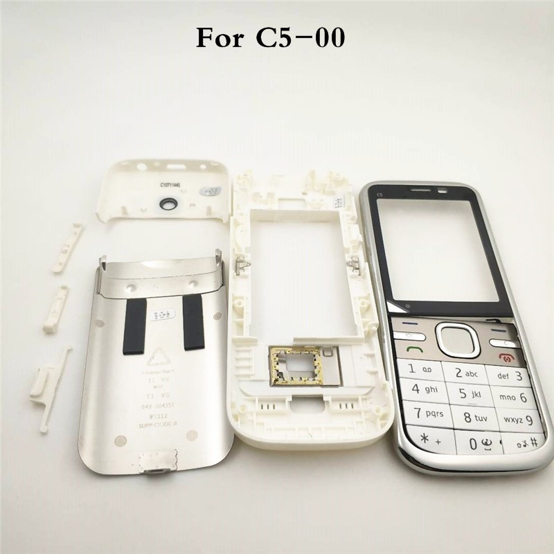 Original Front Middle Frame Back cover Battery Cover For <font><b>Nokia</b></font> <font><b>C5</b></font> <font><b>C5</b></font>-00 Full <font><b>Housing</b></font> Cover Case With English Or Arabic Keypad image