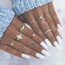 Européen et américain rétro opale couronne cristal lune et les étoiles anneau femelle bague doigt Joint ornement en gros
