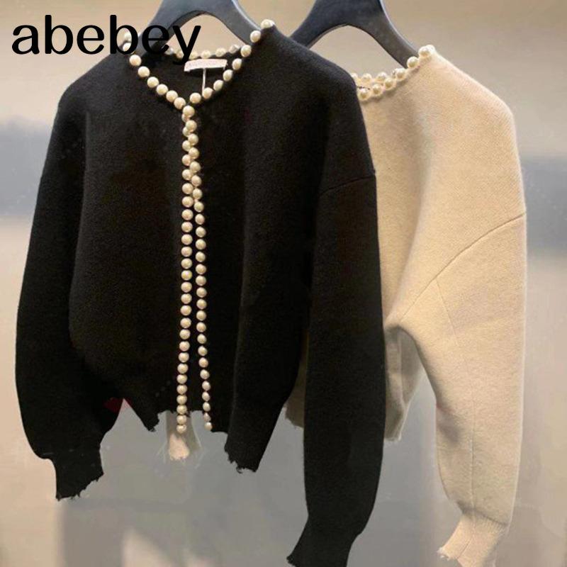 2020 New Fashion Korean Jackets Pearls Cardigan Batwing Sleeve Wool Knit Vintage Women's Coat High Quality Jacket AQ927
