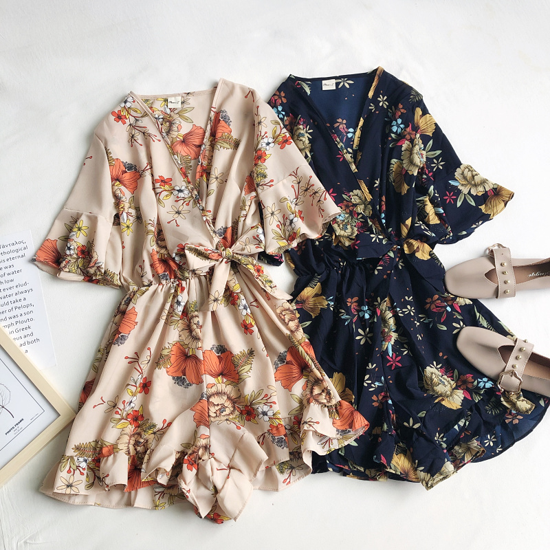 2020 New Summer Fashion Wild Flowers And Leaves Print V-neck Waist Belt Ruffled Jumpsuit Wide Leg Pants Women