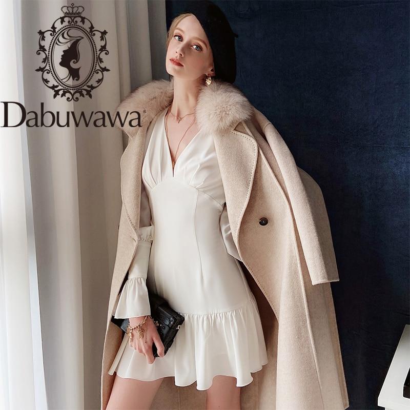 Dabuwawa Elegant White Solid Dress Women Ruffle Sleeve Deep V-Neck High Waist Ruffle Hem Sexy Party Dress Female DT1CDR024