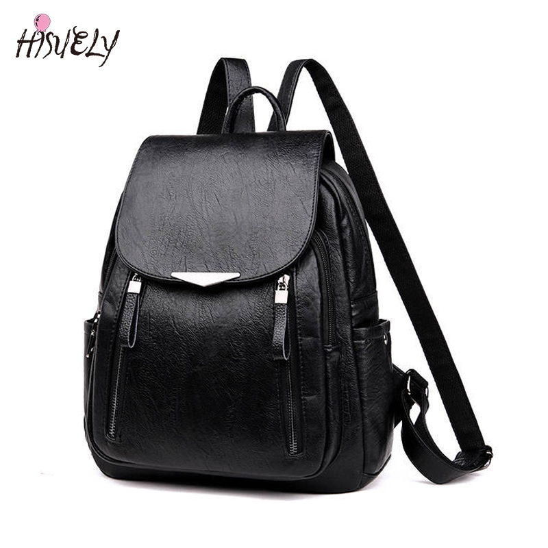 Black Women Pu Leather Backpack 2020 New Women's Backpack Female Solid Bagpack Ladies Backbag Back Pack Red Female Designers