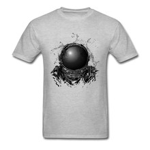 2019 Summer T-shirt Men Tshirt Grey T Shirts Astronaut 3D Helmet Print Tops Graphic Tees Cotton Clothing Fitness Drop Shipping(China)