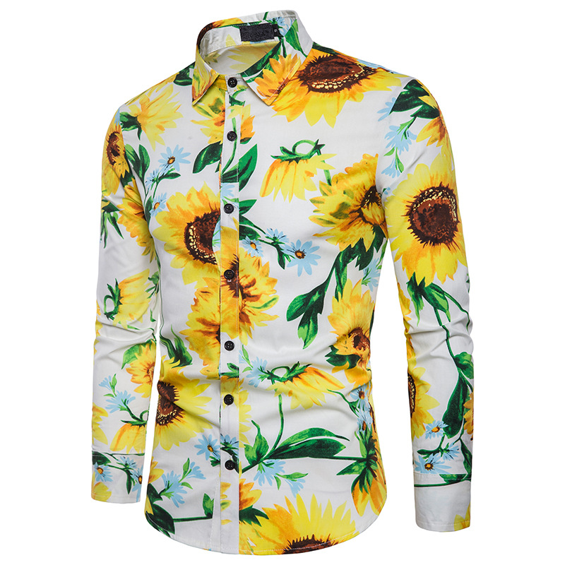 Europe And America Men'S Wear Autumn And Winter Large Body Sunflower Fashion Printed Design Men's Fold-down Collar Long-sleeved