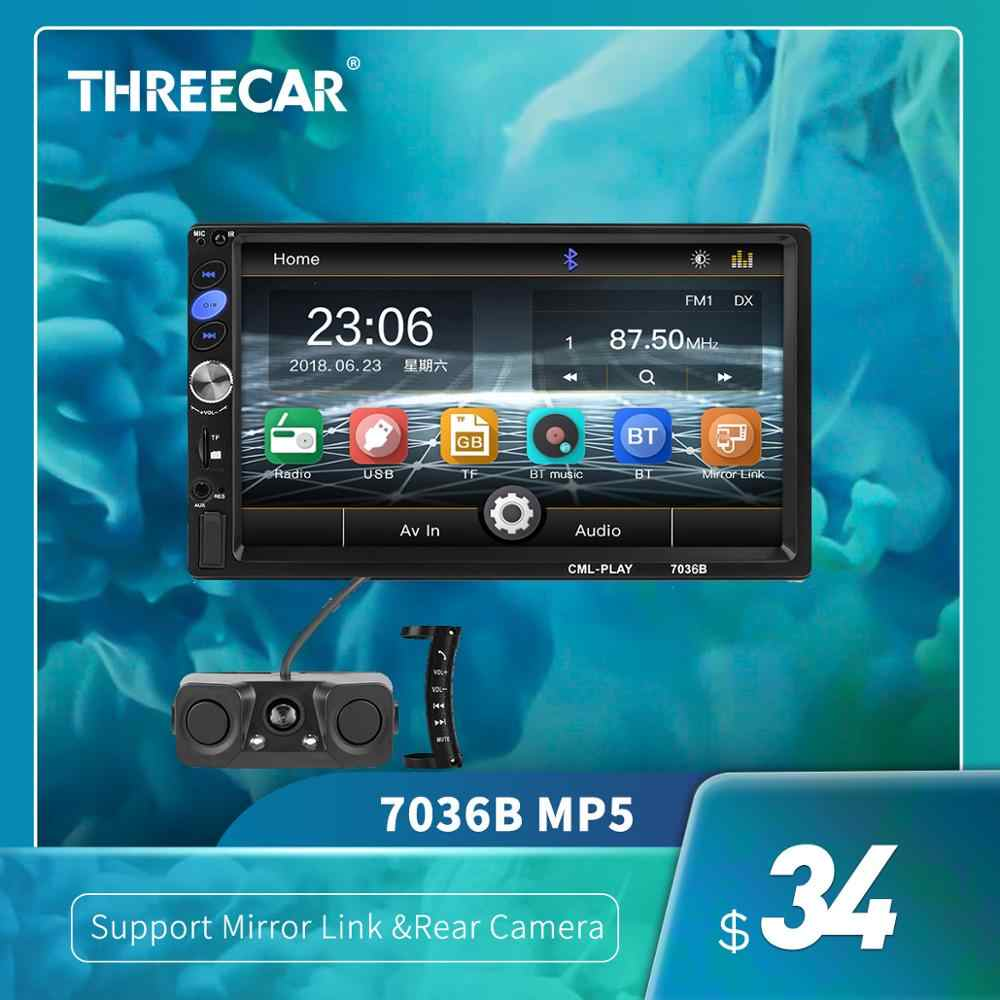 "7036B 7 ""2 DIN Touch Layar Mobil Stereo MP5 Player Subwoofer Bluetooth Auto FM Radio Autoradio Cermin Link Android cadangan Kamera"