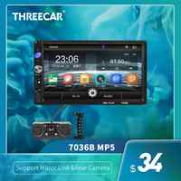 "7036B 7"" 2 Din Touch Screen Car Stereo MP5 Player subwoofer Bluetooth Auto FM Radio Autoradio Mirror Link Android Backup Camera"