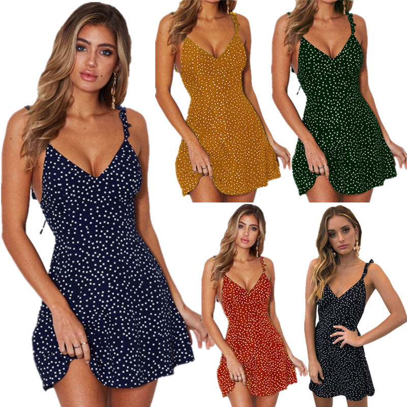 Summer Dress Polka Dot High Waist Dot Printing Mini  Straps Backless Beach  Dresses For Women Sleeveless Elegant Sexy 2020