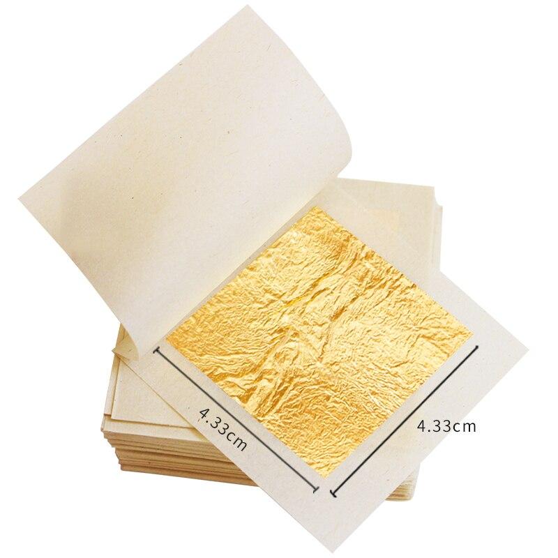 Edible Gold Leaf Real Gold Foil 100PCS 4.33x4.33cm For Facial Mask Art Craft Gilding Paper Edible Cake Decoration 24K Gold Leaf