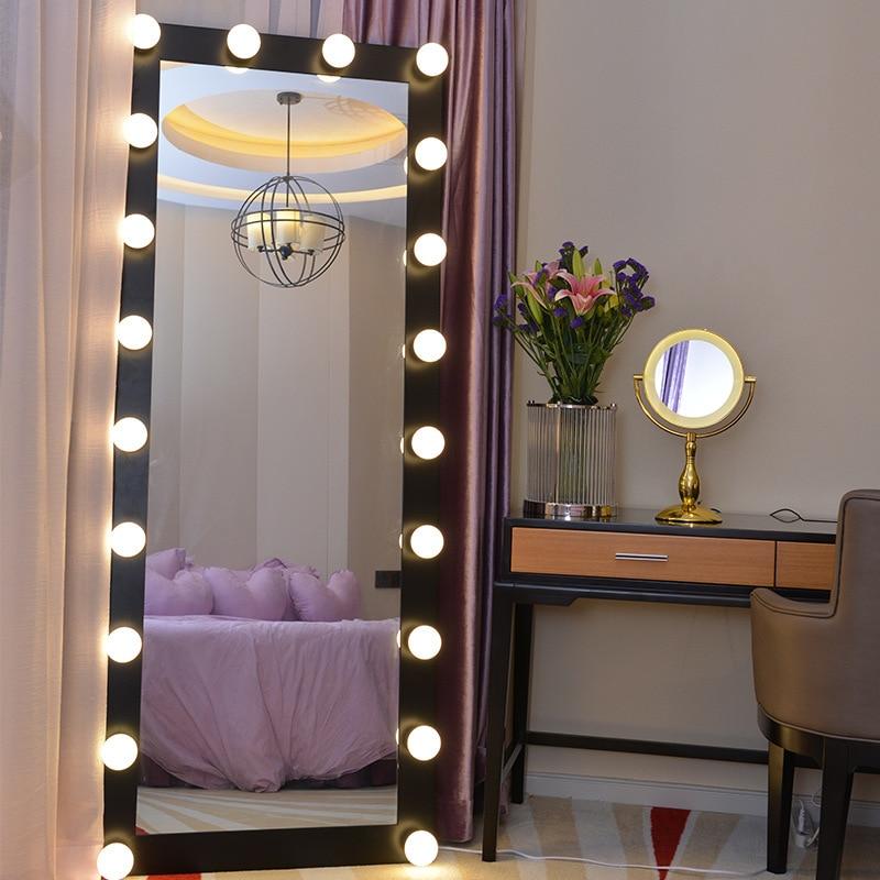 Big Size Dressing Mirror Full-length Led Bulbs Floor Vanity Makeup Mirror