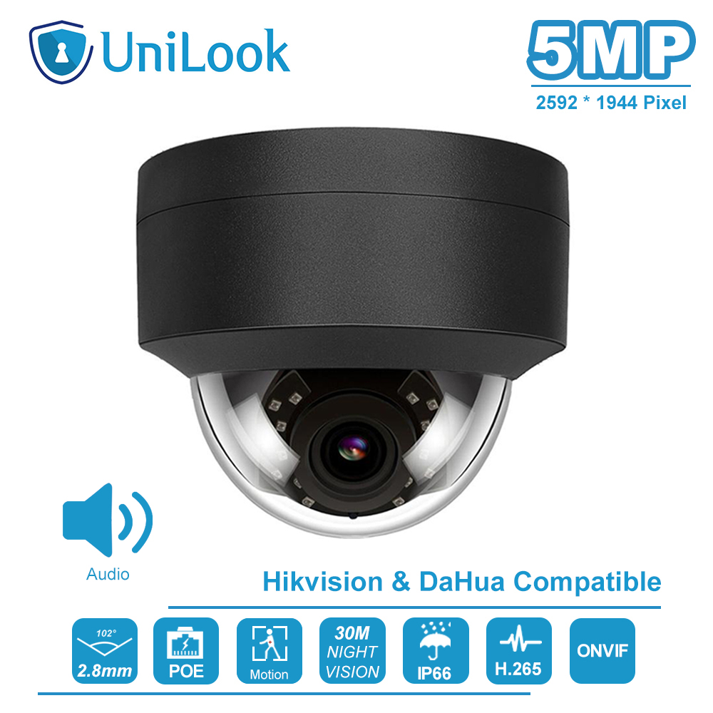 UniLook(Hikvision Compatible) 5MP Dome POE IP Camera Built-in Mic In/Outdoor Security IR 30m H.265 CCTV Video Surveillance ONVIF