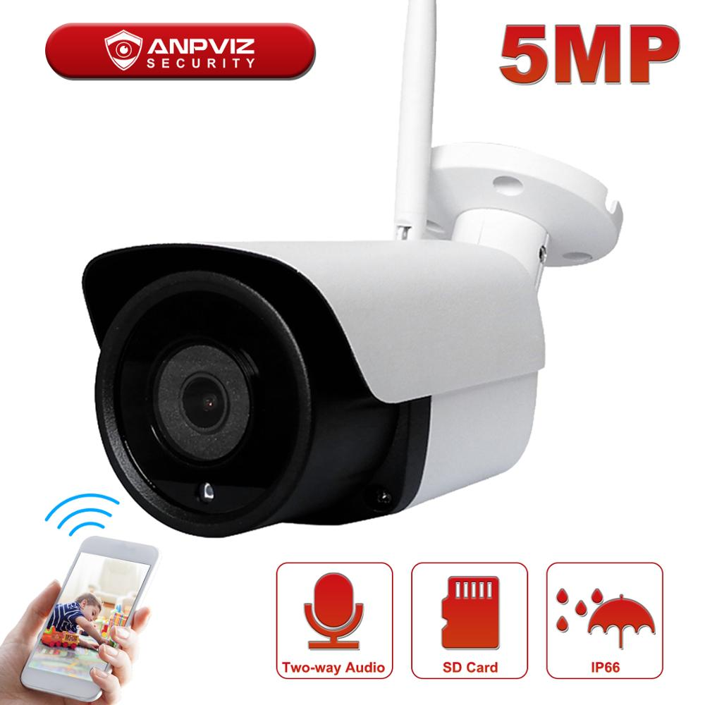 Anpviz 5MP WiFi IP Camera Bullet Wirelese Security Camera Card Slot Built-in Microphone Speaker Two-way Audio IP66 All-metal