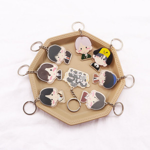 Kpop Keychain Bangtan Boys Key Chains Cute JUNG KOOK V SUGA JHOPE JIMIN JIN RM Album Keychain Acrylic Key Holder Accessories