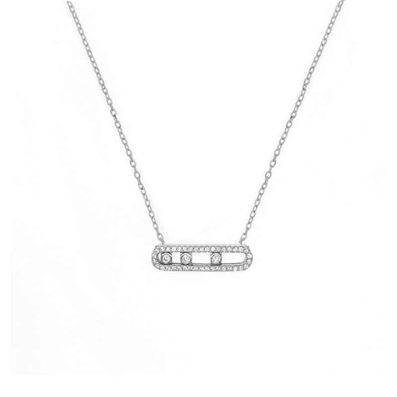 France Fashion Real 925 Sterling Silver Fashion Necklace Bracelet With Three Moved Stone Clear CZ For Women Jewelry Collier