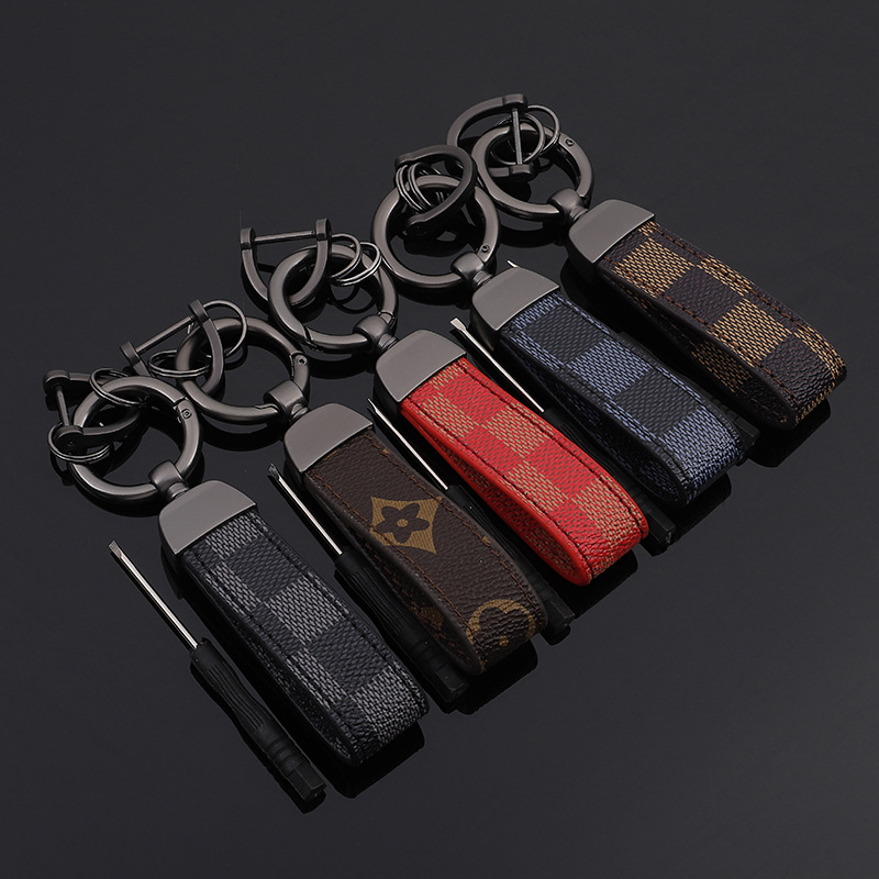 5 Styles Red Blue Square Pattern Leather Metal Keychain Old Flower Auto Waist Key Chain Car Keyfob Rings Keyholder Car Key Ring