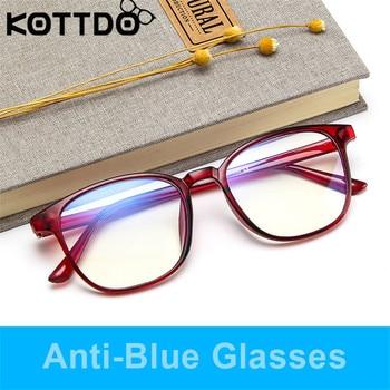 KOTTDO Retro Mens Glasses Frame Fashion Computer Eyeglasses Frame Women Anti-blue Light Transparent Clear Pink Plastic Frame 3