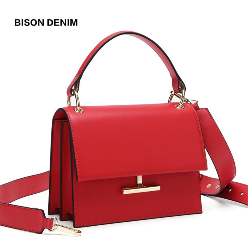 BISON Luxury Handbags Women Bags Designer Cow Leather Fashion Crossbody Bags For Women 2019 Ladies Shoulder Bag Bolsa B1616