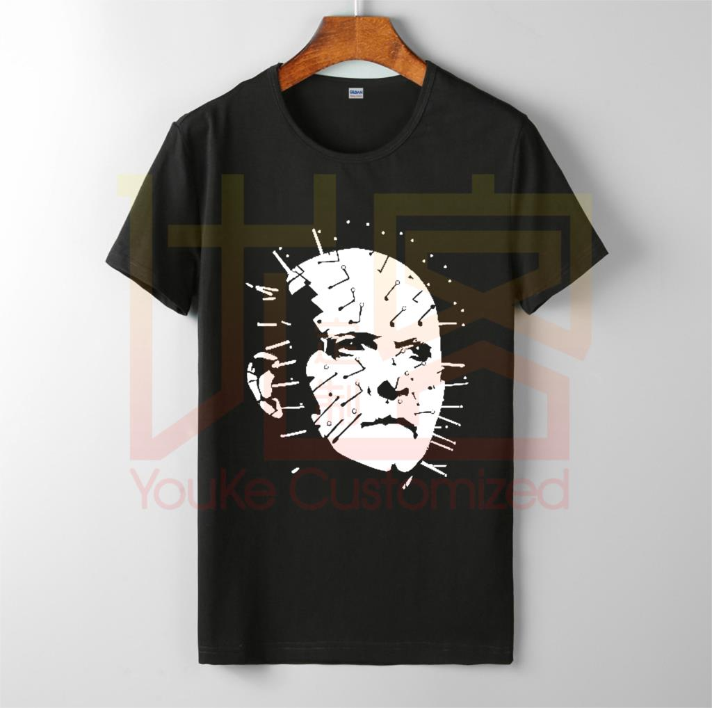 Pinhead Hellraiser 1980s Horror Devil Demon Movie T-shirt men's O-Neck 100% cotton custom printed T-Shirt Tops Tee image