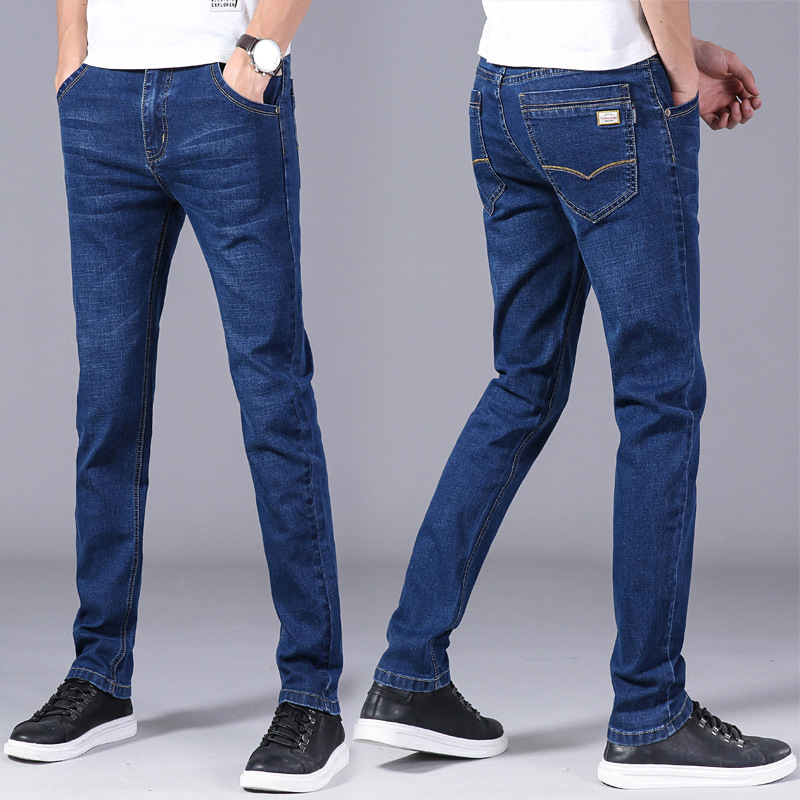 2019 Spring Thin Jeans Men's Straight-Cut Loose-Fit Youth MEN'S Trousers Elasticity Slim Fit Casual Business Men's Trousers