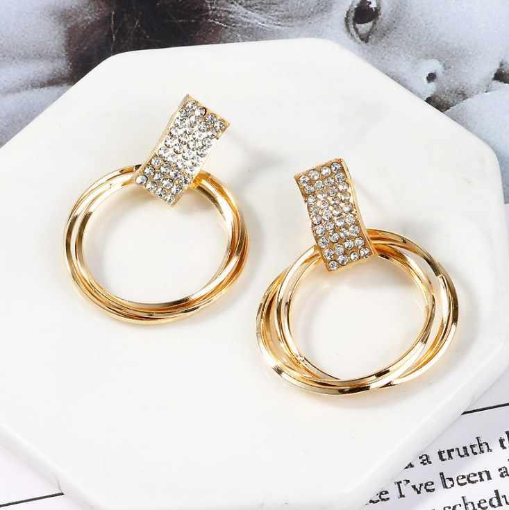 แฟชั่นรอบ Hoop ต่างหูสำหรับผู้หญิง VINTAGE GOLD สีงานแต่งงาน PARTY คริสตัลต่างหูเครื่องประดับ brinco ของขวัญ