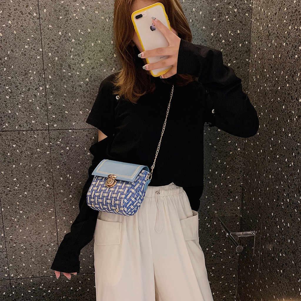 Kontras Warna Kunci Wanita Messenger Tas 2019 Fashion Kasual Pu Kulit Rantai Bahu Cross Tubuh Tas Tangan Kecil Tas Persegi