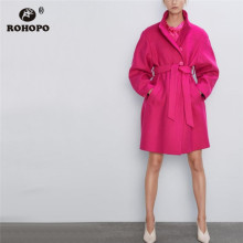 ROHOPO Lapel Collar Single Breasted Waistband Deep Pink Blend Coat