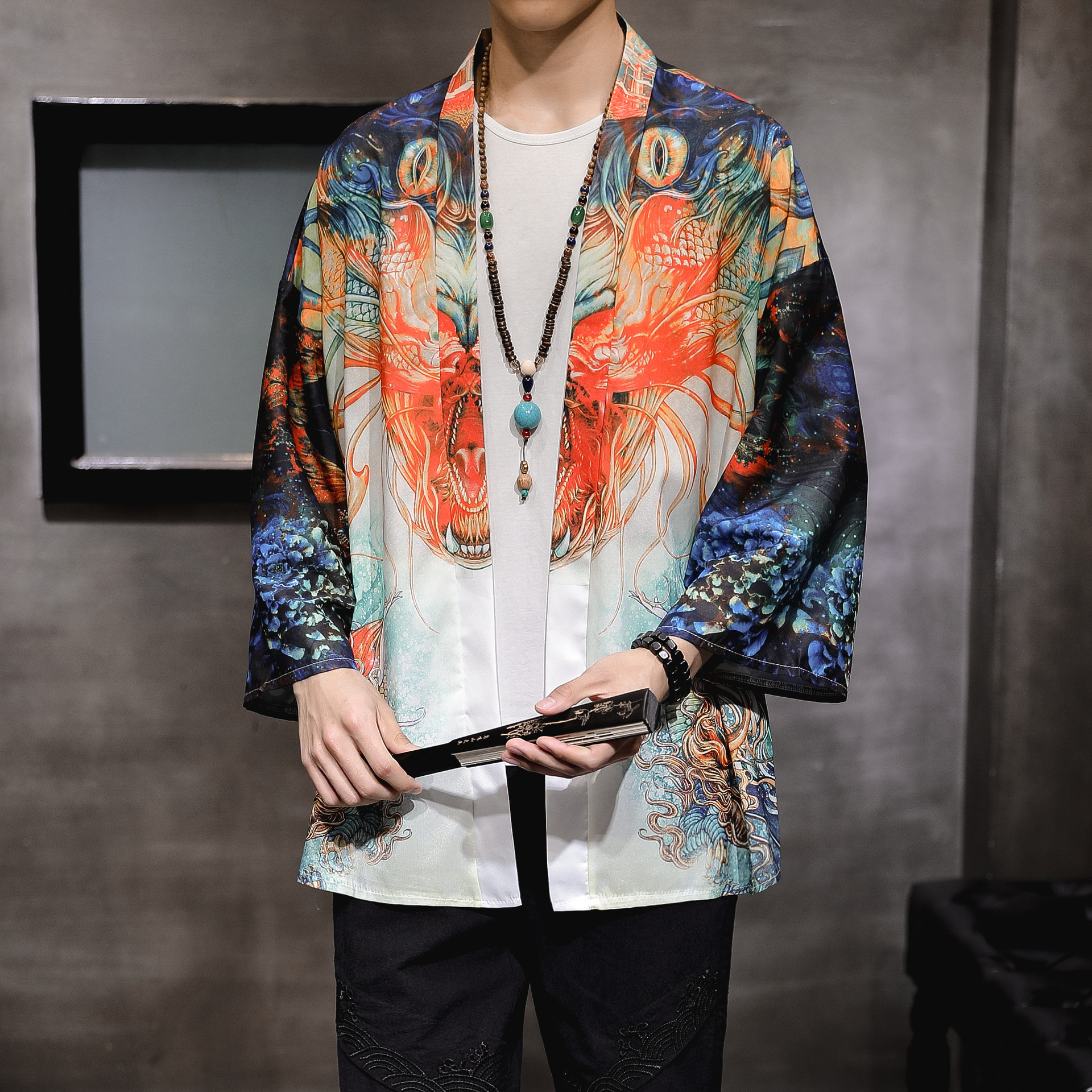 #3947 Summer 2020 Vintage Black Kimonn Jacket Men Thin Loose Vintage Streetwear Hip Hop Jacket Men Kimono Coat 3D Printed M-5XL